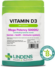 Vitamin D3 5000iu (360 Capsules) Bone Teeth Immune UK Manufacturer Lindens 6344