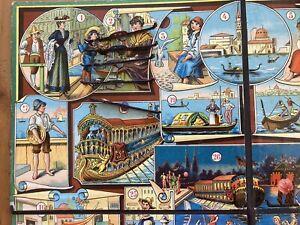 Très Ancien jeu  de Société Avec Six Gondoles En Plomb / Venise