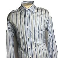 "Bugatchi Uomo Mens Blue Striped Long Sleeve Button Front Shirt Size XL ""C"
