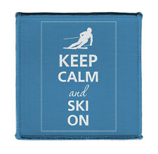 "Keep Calm AND SKI ON Iron on 4x4"" Embroidered Edge Patch Applique On Hat Vest"