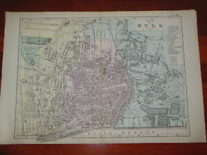Victorian City Plan Map of Hull (1884) East Riding of Yorkshire - Kingston/Docks