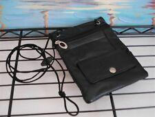 Genuine Leather Wallet Neck Travel Pouch Document Bag Passport Id Holder Black