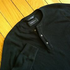 wings+horns Mens Slim Fit Thermal Knit Cotton Long Sleeve Henley Shirt S Black