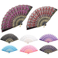 Spanish Lace Held Dance Silk Folding Hand Fan Flower Frame Pattern Party Ribbing