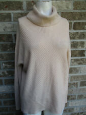 women's Eileen Fisher Cowl Neck Hi-Low Sweater Top Peach/Ribbed Sz XS