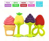 4Pcs BPA Free Natural Silicone Baby Teething Toys Soft Sensory Fruit Teethers