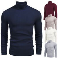 Men Winter Warm Knitted Roll Turtle Neck Pullover Turtleneck Sweater Jumper Tops