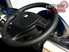 For VW POLO MK5 2009+black real genuine soft leather steering wheel cover DIY