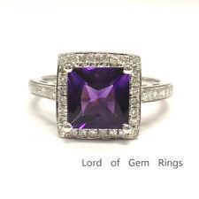 7mm Princess Cut Amethyst Engagement Wedding Diamonds Ring 14K White Gold 6#