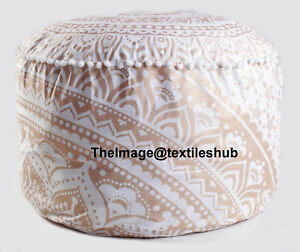"""New Round Cotton Pouf Ottoman Cover Floor Decorative Foot Stool Cover 22X22X14"""""""