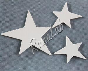 3 stelle con foro IN LEGNO MDF DA RIFINIRE decorazione per albero Natale decori