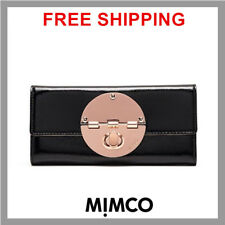 Mimco Turnlock Wallet Large Plum Garnet Tri-fold as Authentic
