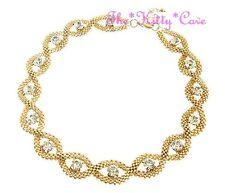 Catwalk Designer Gold Plt Crystal Braided Knotted Mesh Statement Collar Necklace