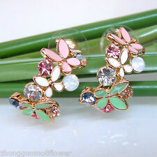 Navachi Enamel Leaves Flower 18K GP Colorful Crystal Ear Stud Earrings BH1057