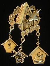 Enchanting Birdhouse Pin Brooch Dangling Charms 24 Karat Gold Plated