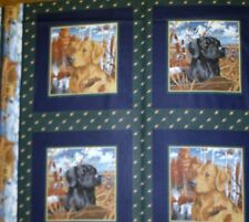 Black & Golden Retrievers Dogs Cushion Panels Cotton Quilting Fabric - 4 Panels