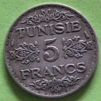 TUNISIE 5 FRANCS 1934 ARGENT