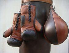 Vintage | Tan & Dark Brown Leather Boxing Gym Punch Bag, Gloves, Ball | Retro