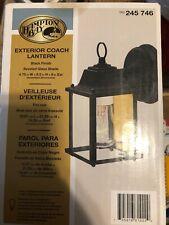Set 2 Hampton Bay Exterior Coach Lantern Black Beveled Glass NIB