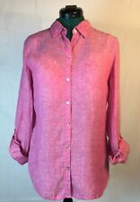 SIGRID OLSEN Red Long Sleeve Collared 100% Linen Button Front Shirt Size M