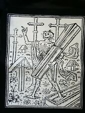 DEATH ZOMBIE REAPER WOOD BURNING STAMP CULT FILM MOVIE BLACK CANVAS BACK PATCH