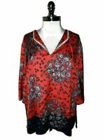 JONES NEW YORK Plus Size 2X Blouse Shirt Top Red Blue Paisley Beads 3/4th Sleeve