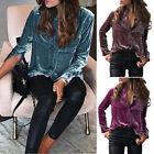 Women Lady Loose Long Sleeve Button Down Shirt Cotton Velvet Pockets Blouse Top