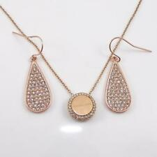 Michael Kors Rose Gold Tone Clear CZ Tear Drop Earrings Necklace Set QYE9