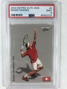 2003 Netpro Elite Roger Federer Rookie Card RC (#3) /2000 PSA 9 MINT Low Pop QTY