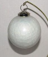 "Vintage White Crackle Glass Christmas Ornaments Kugel Style 4"""