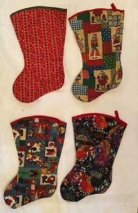 Christmas Stockings - Set of 4 - Festive Patterns - Brand New!