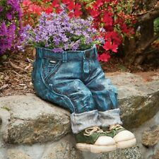 Little Boy's Pair Of Denim Jeans Garden Statue Planter