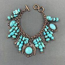 Bohemian Antique Cooper Turquoise Stone Leaf Design Charms Bangle Bracelet