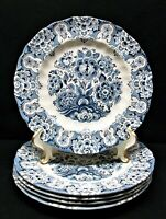 "5 STAFFORDSHIRE ENGLAND ""SUDBURY SQUARE BLUE"" 4416 IRONSTONE DINNER PLATES"
