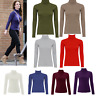 Ladies Plain Ribbed Polo Turtle High Neck Stretch Long Sleeve Jumper Casual Top