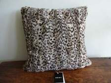 DKNY Black brown Tan LEOPARD Faux FUR Super SOFT PLUSH THROW Decorative PILLOW