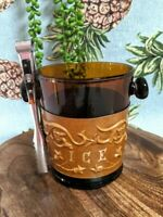 Vtg Amber Glass Ice Bucket Leather Tooled Belt w Tongs Spain Tiki Man Cave Bar