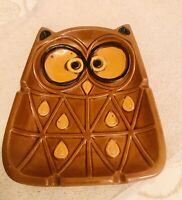 "VINTAGE Large OWL 70s ASHTRAY Japan Ceramic Brown Gold Retro Hipster Mid Cen 8"""