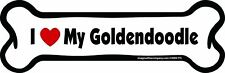 Dog Magnetic Car Decal - Bone Shaped - I Love My Goldendoodle - Made in Usa