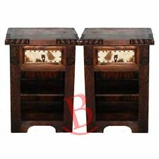 Two Rustic Dark Cowhide Nightstands Western Cabin Lodge Solid Wood Bedroom