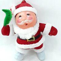 Christmas Santa Claus figure toy doll Flocked ornament decoration Vintage Kitsch