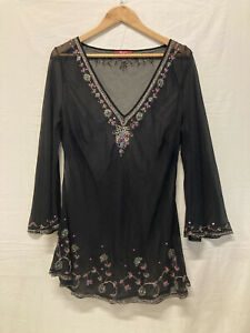 Monsoon Black Mesh Top Fluted Embroidered Beaded Detail HOLES UNDER ARM Size 20