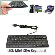 QWERTY 78 Key UK Mini Slim Compact USB Wired Keyboard For Desktop PC Laptop Mac