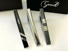 3pc Mens Stainless Steel Grey Black Silver Necktie Tie Clip Bar Clasp Clamp