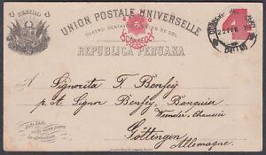 Old Peru Stationery Postcard to Gottingen, Germany