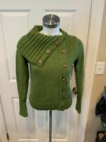 BCBG Max Azria Green Wool Turtleneck Button-Up Cardigan, Size Small