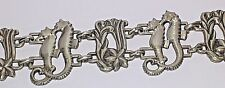 "Rare McClelland Barclay Sea Horses Mint 7.25"" Long Sterling Silver Link Bracelet"
