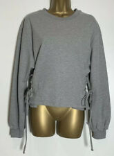 Asos Grey Cotton Blend Jersey Cropped Sweat Top Size 10 New