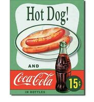 """New Coca-Cola Hot Dog! and Coca-Cola in Bottles Vintage Metal Tin Sign 13""""x16"""""""