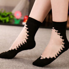 Comfy Sheer Thin Transparent Black Lace Ruffle Ankle Socks Women Crystal Sock